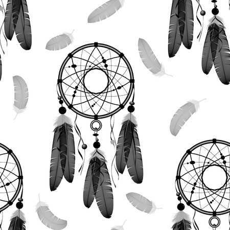 dream: Dream catchers seamless vector pattern. Indian dream catchers, feathers. White background