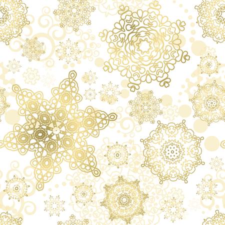 copo de nieve: Cristmas de fondo sin fisuras. Modelo del vector del A�o Nuevo. los copos de nieve del oro en el fondo blanco. Vectores