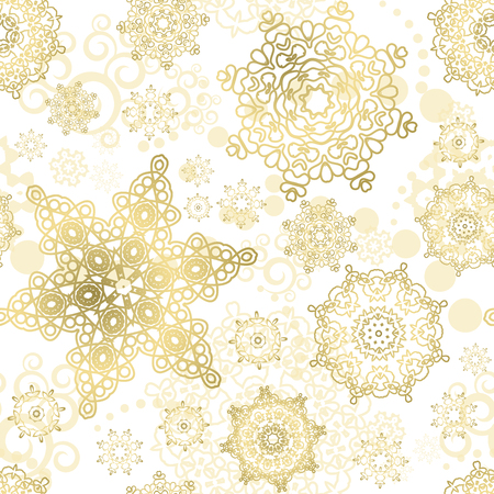 Seamless Cristmas background. Vector  New Year pattern. Gold snowflakes on the white backdrop. Vettoriali