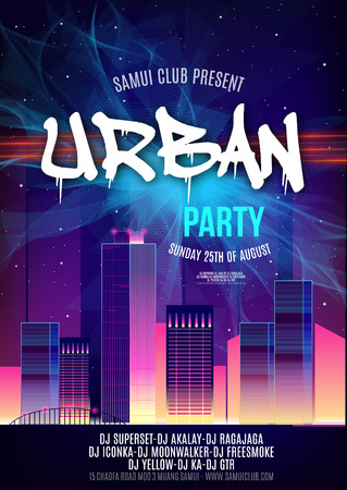 urban dance: Urban Dance Party Poster Background Template - Vector Illustration