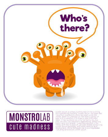 scaring: Vector Illustration of a monster saying quote