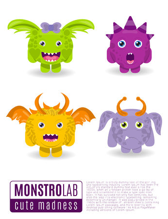 grins: Vector illustration monsters with funny toothy grins.