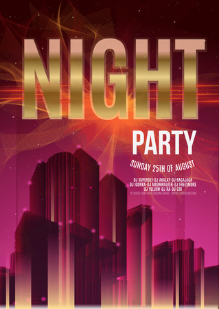 urban background: Night Party Vector Flyer Template - EPS10 Design. Polygonal graphic. Abstract urban background.