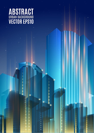 cityscape: City skyline at night. Graphical urban cityscape