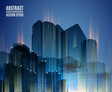 urban landscapes: City skyline at night. Graphical urban cityscape