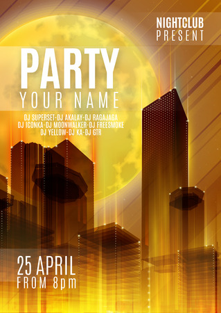 party club: Night Party - Flyer or Cover Design. Background with full moon and night urban abstract vector illustration