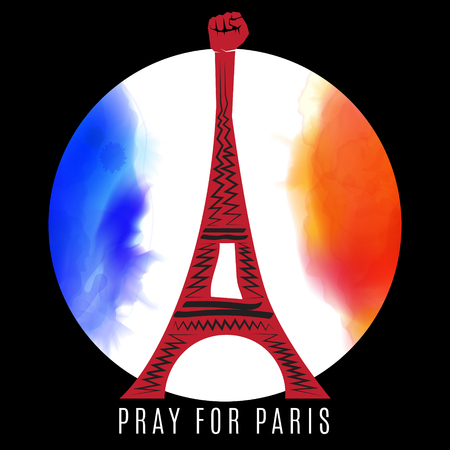 pray for: Pray for Paris. France for peace. Eiffel tower on background colored france flag.
