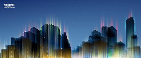 width: City Skylines. Blue night background. Panorama width.  Urban silhouette.