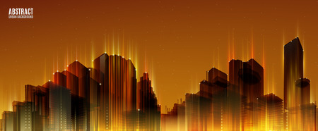 city background: City Skylines. Orange night background. Panorama width. Lights.  Urban silhouette.