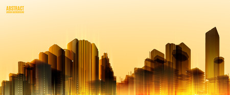 width: City Skylines. Blue night background. Panorama width. Lights.  Urban silhouette. Illustration