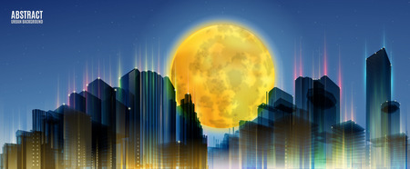 skylines: City Skylines with full moon. Blue night background. Panorama width. Lights.  Urban silhouette.