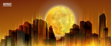 skylines: City Skylines with full moon. Orange night background. Panorama width. Lights.  Urban silhouette. Illustration