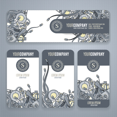 smart card: Corporate Identity vector templates set with doodles it theme in gray colors.  Office stuff, phone, wires with connectors, cup of cofee, clips. Illustration