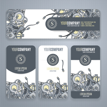 office stuff: Corporate Identity vector templates set with doodles it theme in gray colors.  Office stuff, phone, wires with connectors, cup of cofee, clips. Illustration