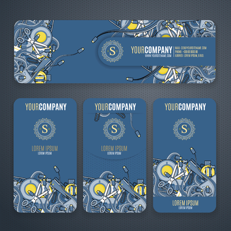 cofee cup: Corporate Identity vector templates set with doodles it theme in navy colors .  Office stuff, phone, wires with connectors, cup of cofee, clips.