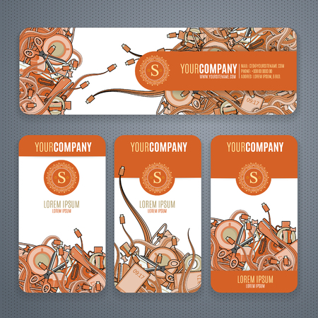 cofee cup: Corporate Identity vector templates set with doodles it theme in orange colors on white background.  Office stuff, phone, wires with connectors, cup of cofee, clips.