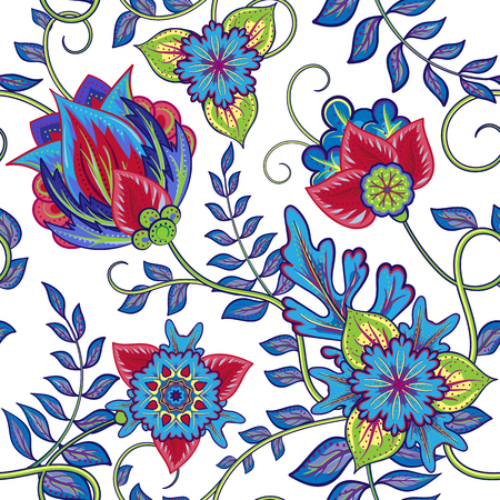flower ornament: Seamless pattern. Vintage decorative elements. Hand drawn background. Arabic, Indian, ottoman motifs. Perfect for printing on fabric or paper.