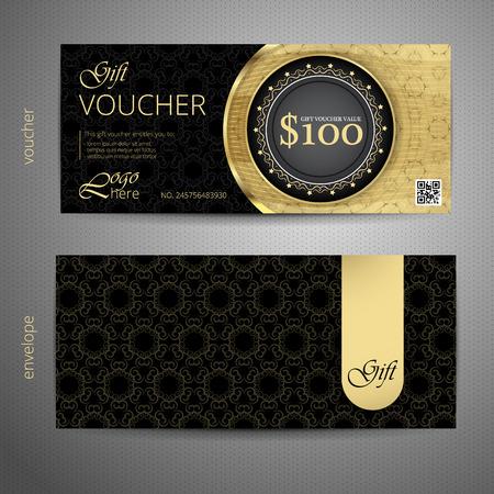 vouchers: Voucher template with VIP premium vintage pattern. vector