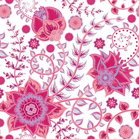 persia: Vector seamless vintage floral pattern. Stylized silhouettes of flowers and leave on a white background. Fantasy colorful flowers. Persia backdrop Illustration