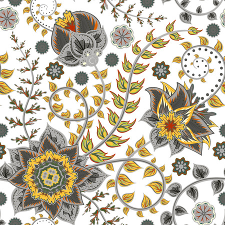 persia: Vector seamless vintage floral pattern. Stylized silhouettes of flowers and leave on a white background. Fantasy grey and yello flowers. Persia backdrop.