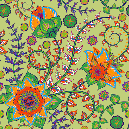 persia: Vector seamless vintage floral pattern. Stylized silhouettes of flowers and leave on a green background. Fantasy orange flowers. Persia backdrop.