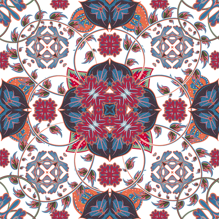 ceramic tile: Turkish, Arabic, African Ottoman Empires era traditional seamless ceramic tile, vector floral pattern
