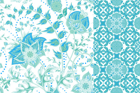 lily flowers: Seamless floral patterns set. Vintage flowers backgrounds and borders with leave. Vector ornaments.