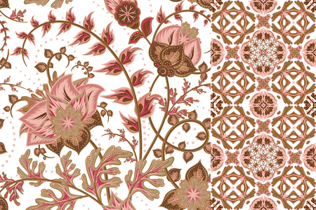 pink roses: Set of floral seamless background and border with fantasy flowers, blossom and leave. Vector ornamental pattern set.