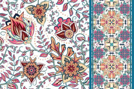 disegni cachemire: Set di motivo floreale senza soluzione di continuit� e di frontiera per il design. Tiraggio della mano illustrazione vettoriale. Sfondo trasparente con i fiori. Vettoriali