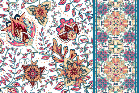 border: Set of seamless floral pattern and border for design. Hand draw vector Illustration. Seamless background with flowers. Illustration