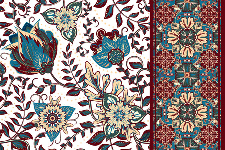 Set of seamless floral pattern and border for design. Hand draw vector Illustration. Seamless background with flowers. Çizim