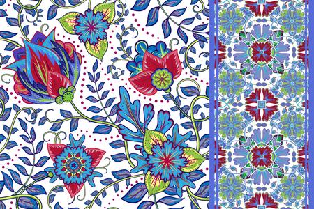 marguerite: Ensemble de vintage floral background Seamless et fronti�re perm�able. Vector fantaisie motif de fleurs. Utiliser pour cr�er des projets de tissus ou des �l�ments de conception pour le scrapbooking, cartes de v?ux, des textiles. �l�gance illustration.