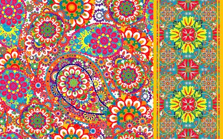 disegni cachemire: Set di modello tradizionale paisley senza soluzione di continuit� orientale e di frontiera. Fiori sfondo vintage. Ornamento decorativo sfondo per il tessuto, tessile, carta da imballaggio, carta, invito, carta da parati, web design.