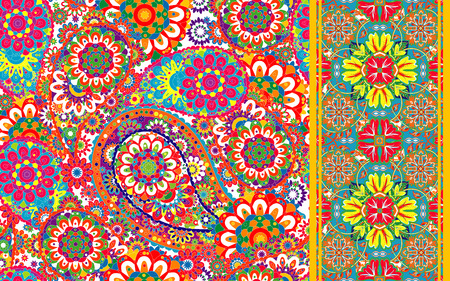 Set of traditional oriental seamless paisley pattern and border. Vintage flowers background. Decorative ornament backdrop for fabric, textile, wrapping paper, card, invitation, wallpaper, web design.