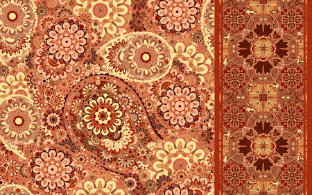 paisley seamless pattern: Set of traditional oriental seamless paisley pattern and border. Vintage flowers background. Decorative ornament backdrop for fabric, textile, wrapping paper, card, invitation, wallpaper, web design.