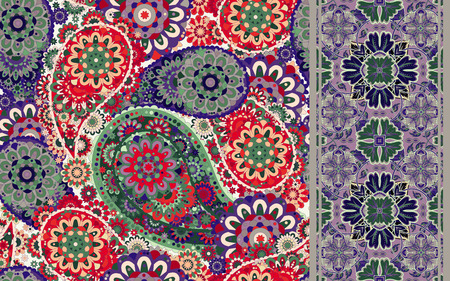 Set of colorful paisley seamless pattern and stripped. Vintage paisley background.