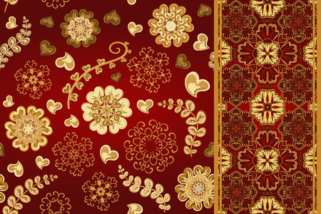 x mass: Set of seamless pattern with flowers with snowflakes and border, fantasy floral endless pattern. Vector christmas illustration. Illustration