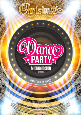Dance Party Night Poster Background Template. Vector Illustration Çizim