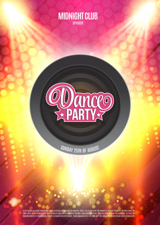 Dance Party Night Poster Background Template. Vector Illustration Illustration
