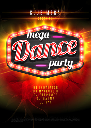 display board: Patry Dance retro display board with lights. Vector Background for flyer or poster.