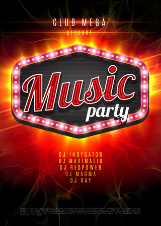 Music party vector poster with a light frame on the red background. Иллюстрация