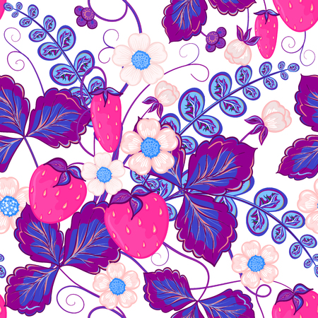 organic background: Seamless pattern with pink strawberries and violet leaves. Perfect for wallpapers, pattern fills, web page backgrounds, surface textures, textile.
