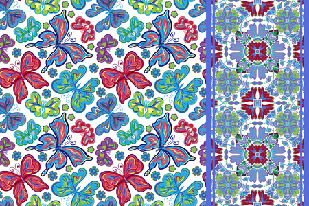lilas: Set of seamless pattern with colorful vintage butterflies and flowers and ornate border  or band ribbon. Hand draw vector background.