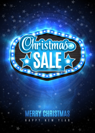 mailing: Light frame with glowing lights, garlands of blue and yellow with the words Christmas Sale. Blue Snow background with light rays and stars. Background on sale, discounts, promotions in the winter. Seasonal advertising. Suitable for printing, mailing Illustration