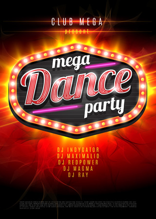event party: Neon sign mega Dance party in light frame on red  flame background. Vector illustration.