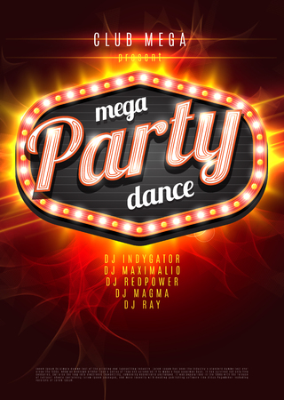 dj party: Mega Party Dance Poster Background Template with retro light frame on red flame background - Vector Illustration