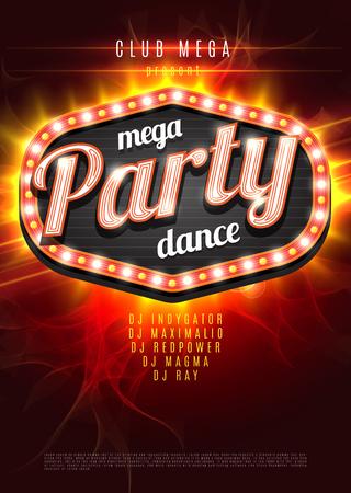 party dj: Plantilla del fondo del cartel de la danza Mega Parte con el marco de la luz retro en el fondo llama roja - ilustración vectorial