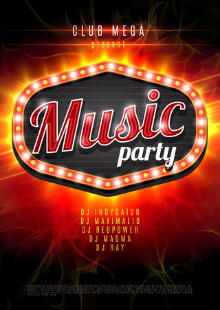 nightclub: Abstract music party background for music event design. Retro light frame on red flame background. vector illustration Illustration