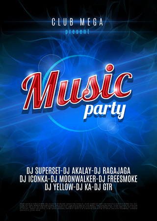 Vertical blue music party party background with place for text on blue flame background.  Vector version