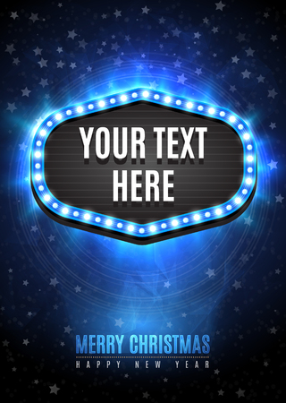 light show: Shining retro light frame banner template in Christmas and Happy new year style on blue snow background with light rays and stars.  Vector illustration